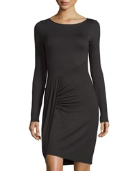 Three Dots Long Sleeve Draped Sheath Dress Black