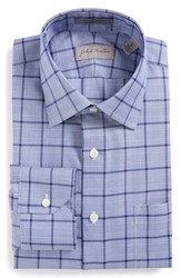 John W. Nordstromr Men's Big And Tall Nordstrom Traditional Fit Non Iron Plaid Dress Shirt Purple Surf