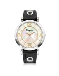 Salvatore Ferragamo Gancino Deco Collection Silver Tone Stainless Steel Case And Leather Strap Women's Watch Silver Black