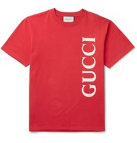 Gucci Oversized Logo Print Cotton Jersey T Shirt Red