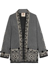 Figue Haveli Embellished Wool And Cashmere Blend Jacket Gray