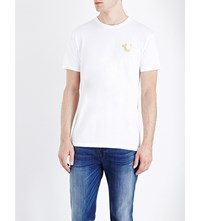 True Religion Metallic Logo Print Cotton Jersey T Shirt White
