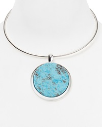 Robert Lee Morris Soho Disc Pendant Collar Necklace 18 Silver Turquoise