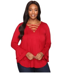 Karen Kane Plus Size Flare Sleeve Lace Up Top Red Women's Clothing