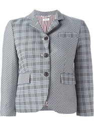 Thom Browne Houndstooth Pattern Blazer Blue
