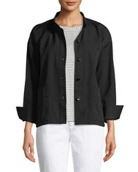 Eileen Fisher Button Front Long Sleeve Boxy Canvas Jacket Black