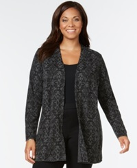 Charter Club Plus Size Medallion Print Open Front Cardigan Only At Macy's Deep Black Combo