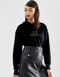 Fred Perry Velour Hoodie With Gold Logo Black