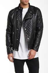 Members Only Quilted Faux Leather Motocross Jacket Black