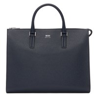 Boss Navy Large Signature Slim Briefcase