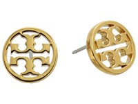 Tory Burch Logo Circle Stud Earrings Shiny Gold