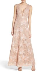 Bcbgmaxazria Women's Illusion V Neck Lace Gown