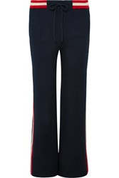 Chinti And Parker Trapeze Striped Cashmere Track Pants Navy