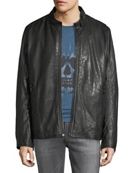 Andrew Marc New York Cafe Lambskin Racer Jacket Black