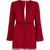 River Island Red Lace Bell Sleeve Beach Kaftan