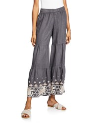 Johnny Was Sienne Wide Leg Tiered Linen Palazzo Pants W Embroidered Hem Smoke