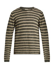 Oliver Spencer Seymour Striped Linen And Cotton Blend Sweater Grey Multi