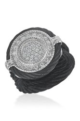 Alor 18K Gold Plated Black Round Diamond Ring Size 6.5 0.34 Ctw
