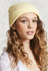 Forever 21 Knit Fold Over Beanie Yellow