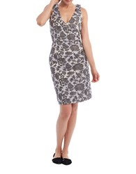 Paper Crown Alana Sleeveless Floral Printed Dress Silver