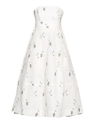 Erdem Alina Floral Jacquard Cotton Blend Strapless Dress