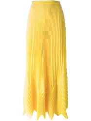 Msgm Pleated Long Skirt Yellow And Orange