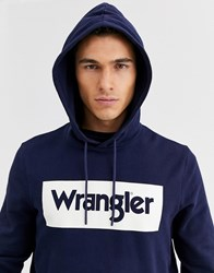 Wrangler Larger Logo Hoodie In Navy