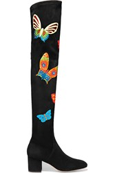 Valentino Appliqued Stretch Suede Over The Knee Boots Black