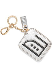 Anya Hindmarch Iron Embossed Textured Leather Key Wallet Silver