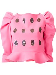 Dresscamp Cocoon Sleeve Peplum Top Pink And Purple