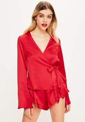 Missguided Red Long Sleeve Satin Pj Set