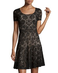 Zac Posen Short Sleeve Lace Dress Black