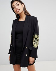 Ivyrevel Double Breasted Blazer With Embroidery At Sleeves Black Gold
