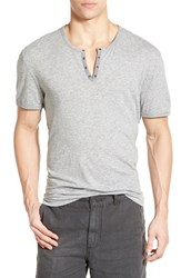 Men's John Varvatos Star Usa Eyelet Neck Henley Grey Heather