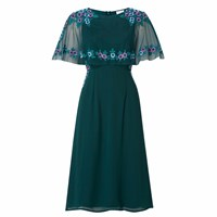 Raishma Green Floral Cape Dress