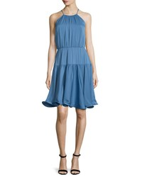 Milly Madison Sleeveless Tiered Sundress Steel Blue