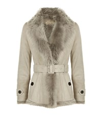 Burberry Shearling Wrap Jacket Female Stone