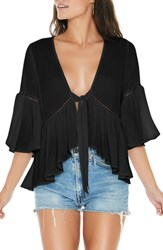 L Space Lilly Tie Front Top Black