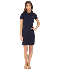 Lacoste Short Sleeve Pique Polo Dress Navy Blue Women's Dress