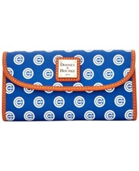 Dooney And Bourke Chicago Cubs Mlb Large Continental Clutch Blue