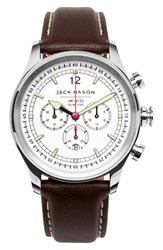 Jack Mason Brand Men's Nautical Chronograph Leather Strap Watch 42Mm White Dark Brown
