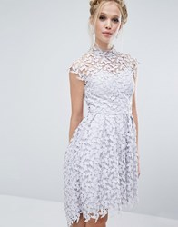 Chi Chi London High Neck Dress In Cutwork Lace Grey