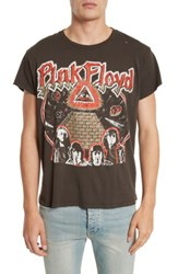 Madeworn Men's Pink Floyd Glitter Graphic T Shirt Dirty Black