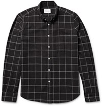 Steven Alan Button Down Collar Windowpane Checked Brushed Cotton Shirt Black