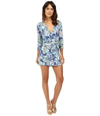 Lilly Pulitzer Karlie Wrap Romper Multi Hanging With Fronds Women's Jumpsuit And Rompers One Piece Blue