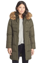 Larry Levine Down And Feather Fill Coat With Faux Fur Trim Military Green