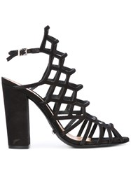 Schutz Block Heel Caged Sandals Women Leather 39 Black