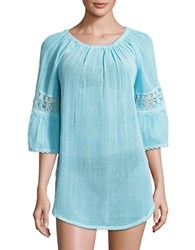 Amita Naithani Roundneck Cotton Tunic Crystal Aqua