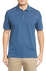 Nordstrom Men's Big And Tall Men's Shop Classic Regular Fit Oxford Pique Polo Blue Poseidon Oxford