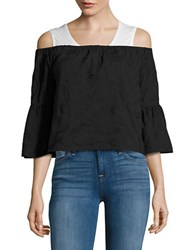 Buffalo David Bitton Embroidered Off The Shoulder Top Black